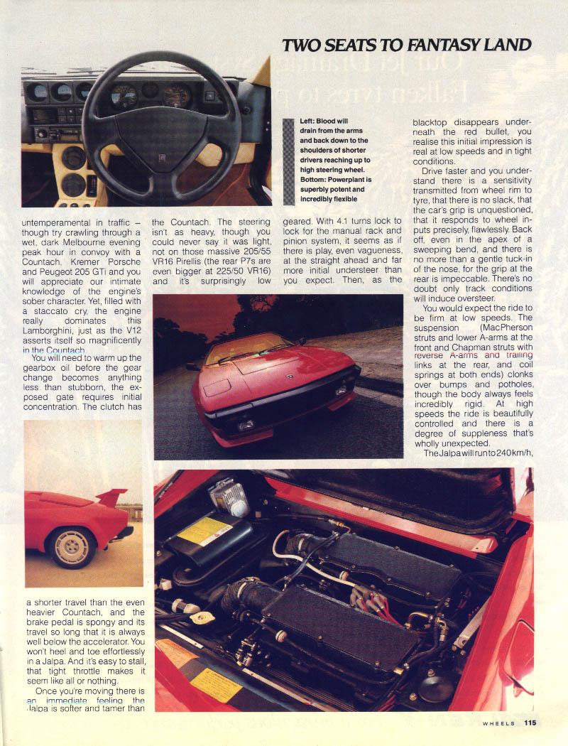 Lamborghini Jalpa Magazine Article